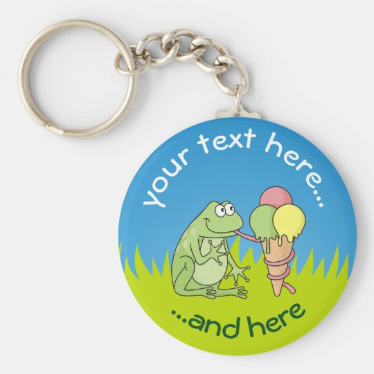 Frog with Icecream on Grass Basic Round Button Key Ring