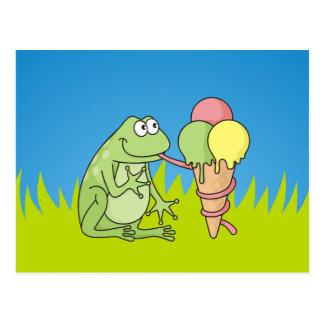 Frog with Icecream Postcard