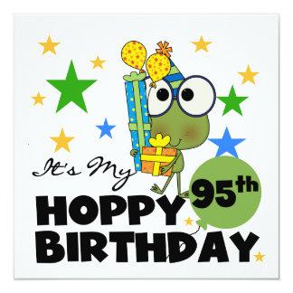 Froggie Hoppy 95th Birthday 13 Cm X 13 Cm Square Invitation Card