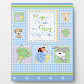 Frogs and Snails Baby Art Easel Photo Plaque