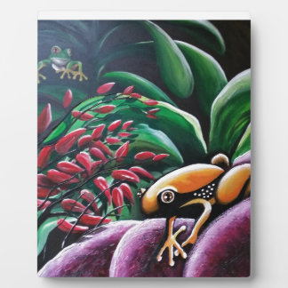 Frogs on Garden Leaves Plaques