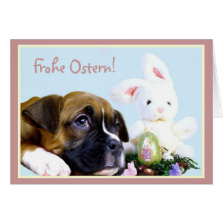 Frohe Ostern  Boxer karten Greeting Card