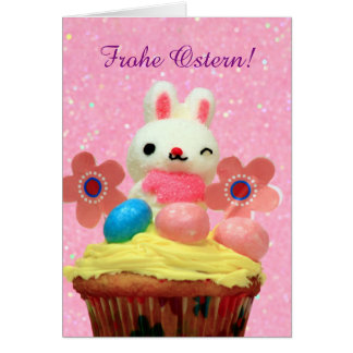 Frohe Ostern Bunny and Eggs greeting card