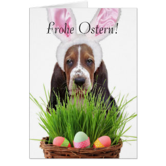 Frohe Ostern Easter Basset Hound Greeting Card