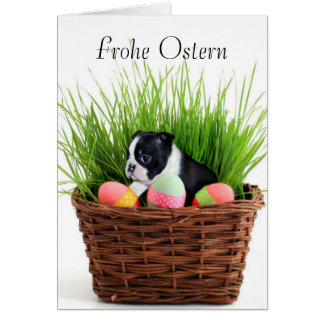 Frohe Ostern Easter Boston Terrier Dog Card