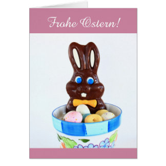 Frohe Ostern Easter Bunny and Eggs greeting card
