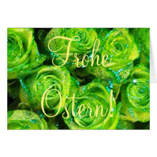 Frohe Ostern German Easter Card, Green Roses Card
