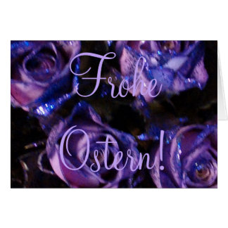 Frohe Ostern, German Easter Purple Roses Flowers Card