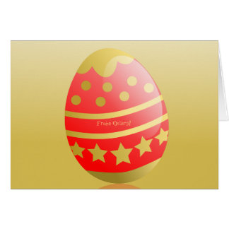 Frohe Ostern German Happy Easter Egg Red Gold Card
