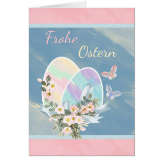 Frohe Ostern - German - Watercolour Easter Eggs Card