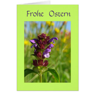 Frohe Ostern mit Blumen Greeting Card