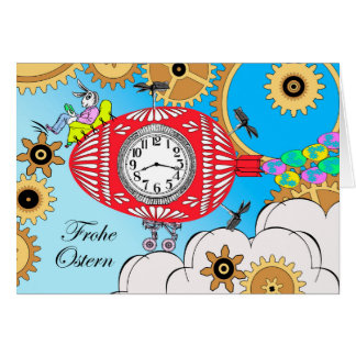 Frohe Ostern, Steampunk Easter in German, Vintage Greeting Card