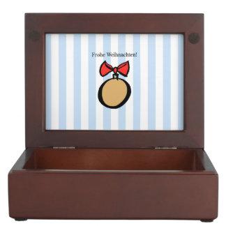 Frohe Weihnachten Gold Ornament Keepsake Box Blue