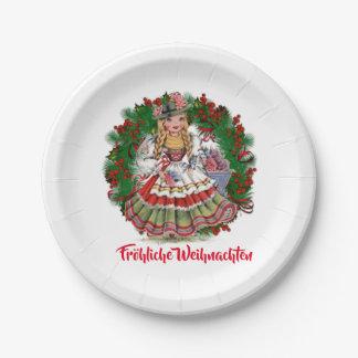 Fröhliche Weihn Merry Christmas German Retro Doll Paper Plate