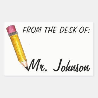 From the Desk of Personalised School Teacher Rectangular Sticker