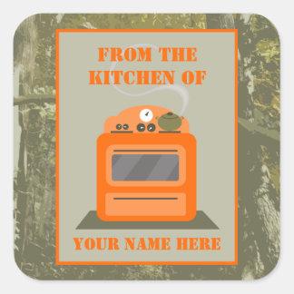 From The Kitchen Of...Camo & Orange Stove Square Sticker
