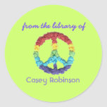 """""""From the library of"""" peace sign bookplate Round Stickers"""