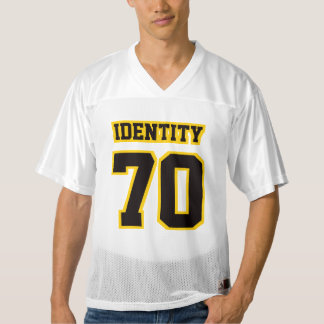 Front BLACK GOLDEN YELLOW WHITE Mens Sports Jersey