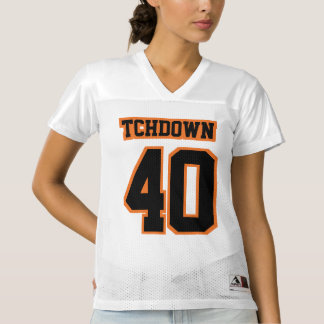 Front BLACK ORANGE WHITE Womens Football Jersey