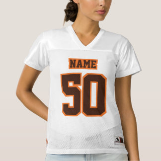 Front BROWN ORANGE WHITE Womens Football Jersey