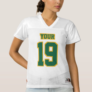 Front DARK GREEN GOLD WHITE Womens Football Jersey