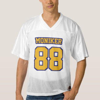 Front GOLD NAVY BLUE WHITE Mens Football Jersey