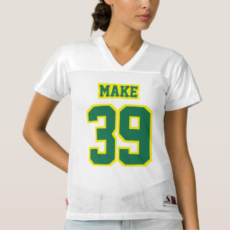 Front GREEN YELLOW WHITE Womens Football Jersey