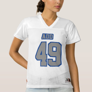 Front GREY BLUE WHITE Womens Football Jersey