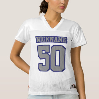 Front GREY NAVY BLUE WHITE Womens Sports Jersey