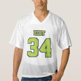 Front LIME GREEN GREY WHITE Mens Football Jersey