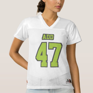 Front LIME GREEN GREY WHITE Womens Football Jersey