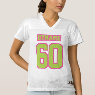 Front LIME GREEN PINK WHITE Womens Football Jersey