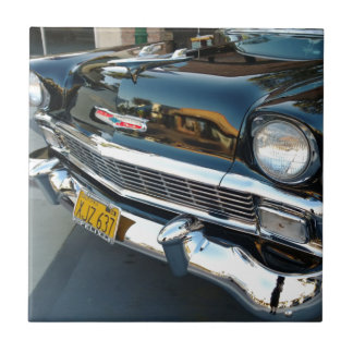 Front of a Classic 1956 Chevy Bel Air Hot Rod Small Square Tile