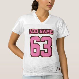 Front PINK BROWN WHITE Womens Football Jersey