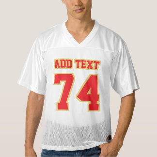 Front RED OLD GOLD WHITE Mens Football Jersey
