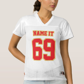 Front RED OLD GOLD WHITE Womens Football Jersey