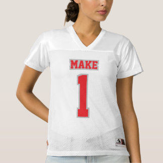 Front RED SILVER GRAY WHITE Womens Football Jersey