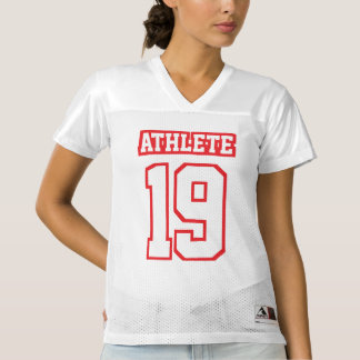 Front RED WHITE Womens Football Jersey