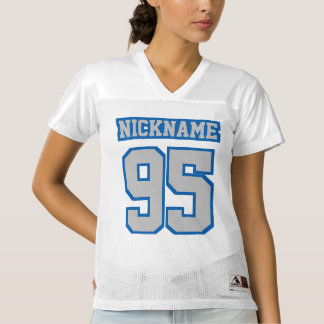Front SILVER BLUE WHITE Womens Football Jersey