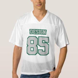 Front SILVER DARK GREEN WHITE Mens Football Jersey