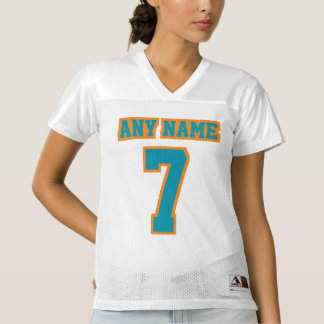 Front TEAL ORANGE WHITE Womens Football Jersey