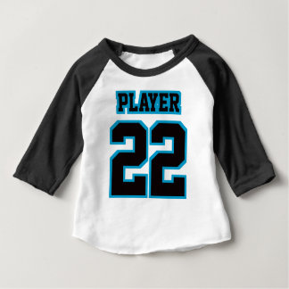 Front WHITE BLACK BLUE 3/4 Sleeve Raglan Baby T-Shirt