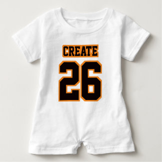 Front WHITE BLACK ORANGE Romper Football Jersey Baby Bodysuit