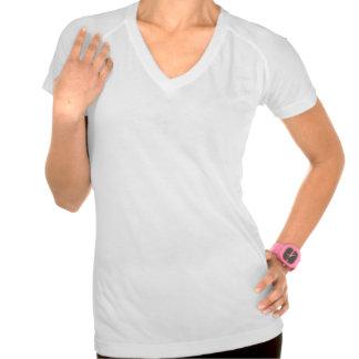 Front WHITE BLACK ORANGE Womens Active Wear VNeck T-Shirt