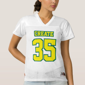 Front YELLOW GREEN WHITE Womens Football Jersey