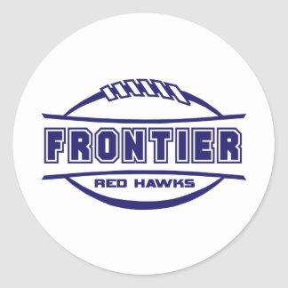 Frontier Red Hawks Logo final 1 color Navy Round Stickers