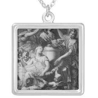 Frontispiece 'French Academy Dictionary' Silver Plated Necklace