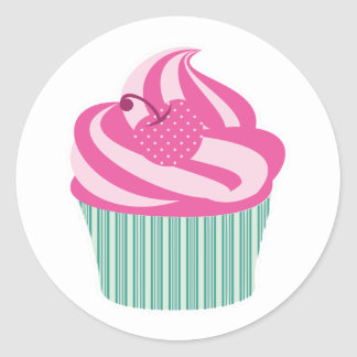 Frosted Cupcake Cherry Mint Green Cute Girly Classic Round Sticker