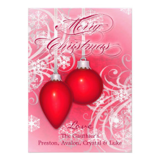 Frosted Flourishes Cherry Red Winter Holiday Card
