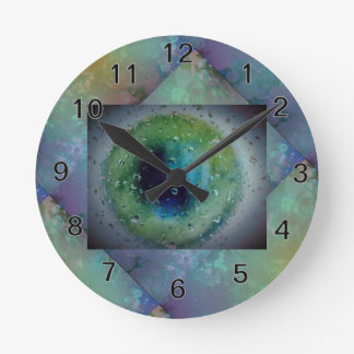 Frozen Eyeball with faux stucco tile background Round Clock